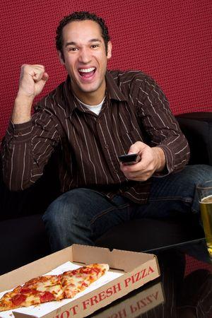 tv remotes: Pizza Man Cheering