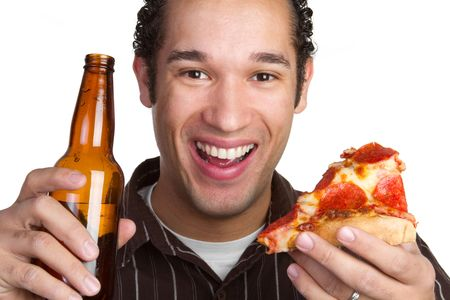 Beer and Pizza Man Stock Photo - 6352456