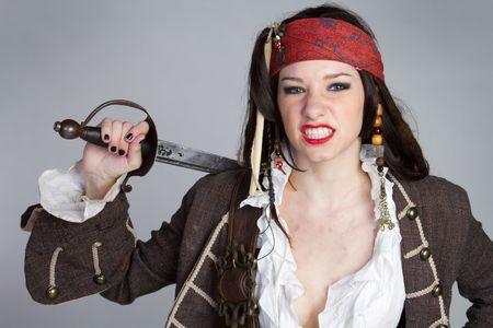 Woman Wearing Pirate Costume Stock Photo - 6343130