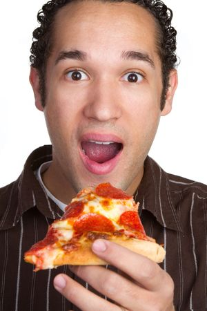caja de pizza: Pizza de salchich�n de alimentaci�n de hombre