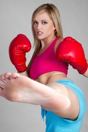 martial arts woman: Girl Kick Boxing