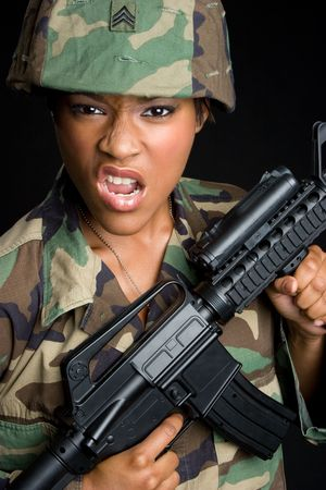 Mean Military Woman Stock Photo - 6363449