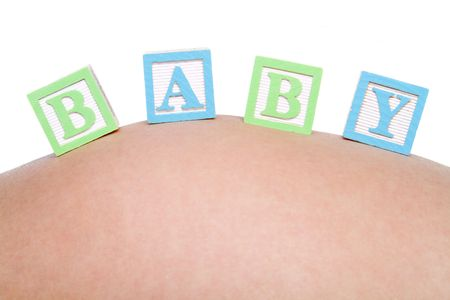 Baby Blocks on Belly Stock Photo - 6363446