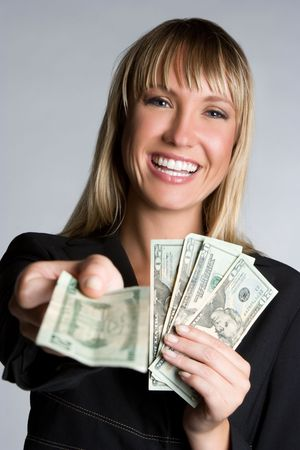 cash on hand: Business Money Woman