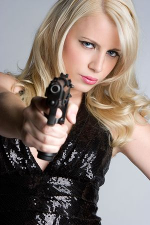 Blond Gun Woman Stock Photo - 6385109