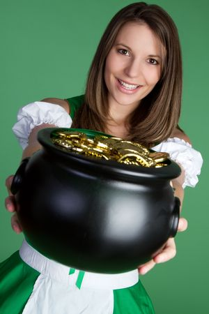 pot of gold: Irish Woman With Gold LANG_EVOIMAGES