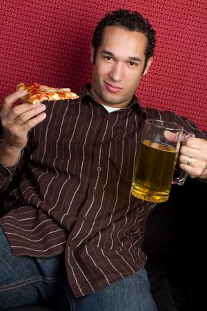 Pizza and Beer Man Stock Photo - 6581008