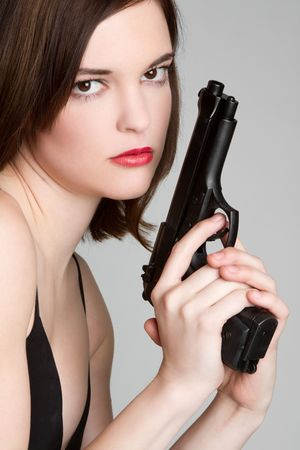 Serious Gun Girl Stock Photo - 6581021