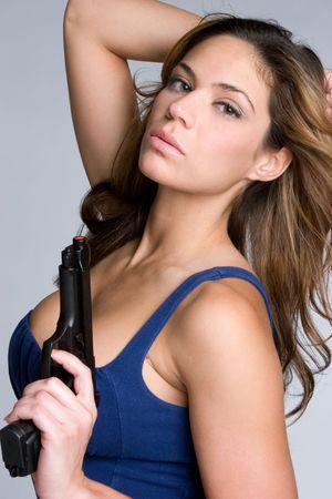 Woman Holding Handgun Stock Photo - 6419254