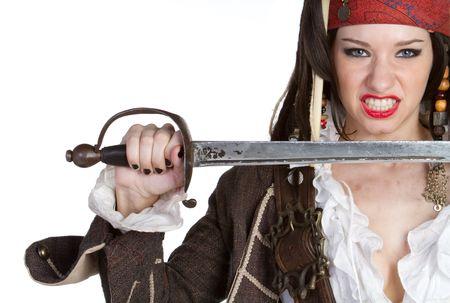 mujer pirata: Pirate enojado