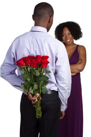 gift behind back: Man Giving Roses