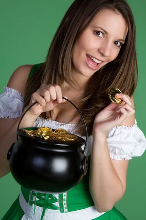 Woman Holding Pot of Gold Stock Photo - 6419269