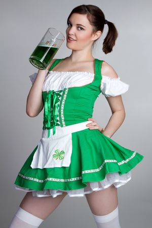 Irish Girl Drinking Beer Stock Photo