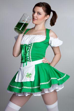 irish woman: Irish Girl Drinking Beer LANG_EVOIMAGES