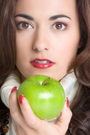 Woman Holding Apple