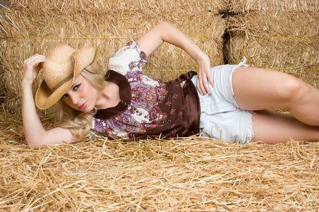 Cowgirl in Barn photo