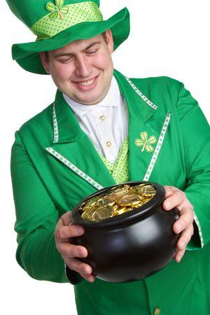 Man Holding Pot of Gold Stock Photo
