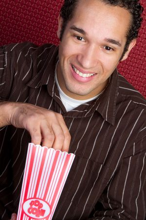 Man Eating Popcorn Stock Photo - 6469261