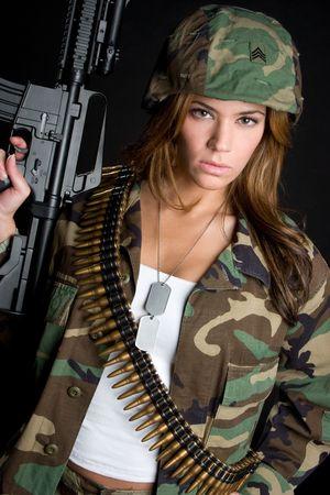 fighting dog: Militare Woman With Gun