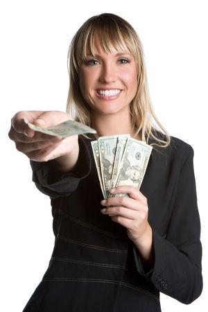 spending money: Businesswoman Holding Money LANG_EVOIMAGES