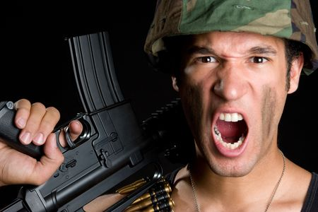 Yelling Soldier Stock Photo - 6477222