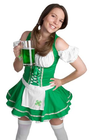 women holding cup: Happy St Patricks Day Girl LANG_EVOIMAGES