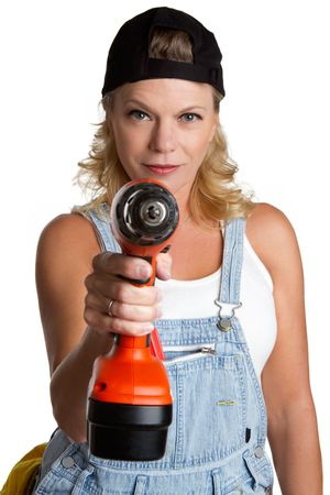 Woman With Cordless Drill Stock Photo - 6501351