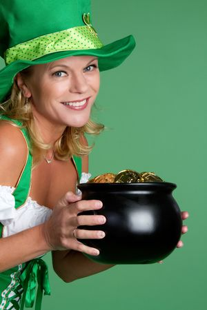 Pot of Gold Woman Smiling Stock Photo - 6501353