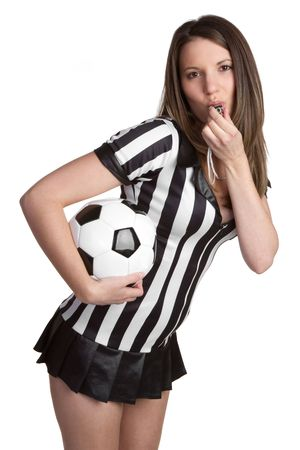 Soccer Referee Blowing Whistle Stock Photo - 6521188