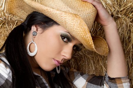 Country Girl Wearing Hat Stock Photo - 6546293