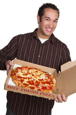 Man Holding Pizza Stock Photo - 6581046
