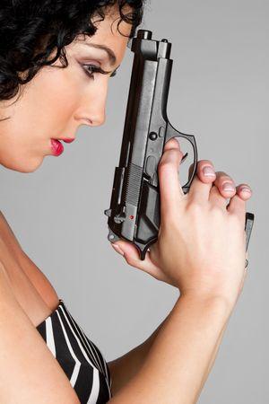 Woman Holding Gun Stock Photo - 6581064