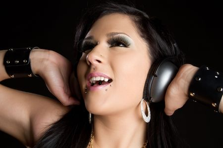 Girl Wearing Headphones Stock Photo - 6581127