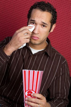 watching movie: Crying Man Watching Movie