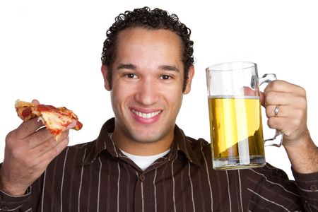 Pizza Beer Man Stock Photo - 6689395