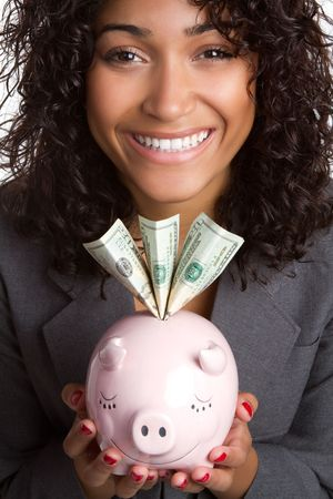 Woman Holding Piggy Bank Archivio Fotografico