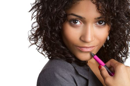Thinking African American Businesswoman Stock Photo - 6736352