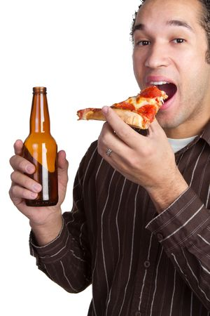 Man With Pizza and Beer photo