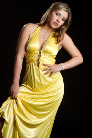 Glamorous Woman in Yellow Dress Stock Photo - 6736369