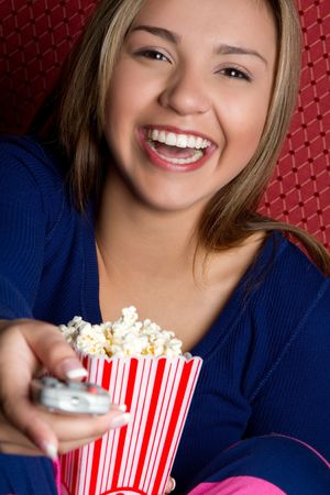 tv remotes: Girl With Popcorn
