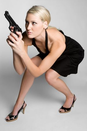 Blond Woman With Gun Stock Photo - 6736382