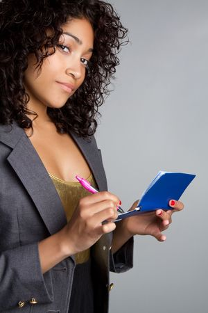 Woman Writing Checks Stock Photo - 6736390