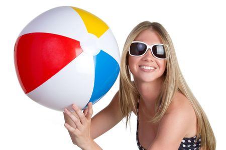 beach ball girl: Ball de playa de holding de mujer