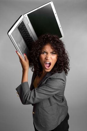 Angry Laptop Woman Stock Photo - 6736403