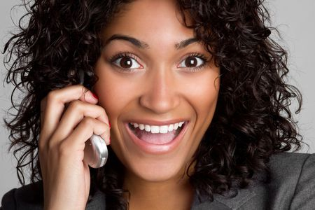 human cell: African American Phone Woman LANG_EVOIMAGES