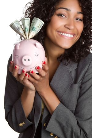 american currency: Piggy Bank Businesswoman