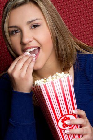 Woman Eating Popcorn Stock Photo - 6775296