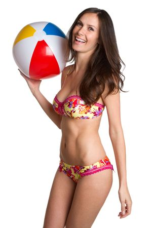 Summer Beach Ball Girl Stock Photo