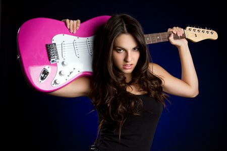 Woman Holding Guitar Stock Photo - 6789613