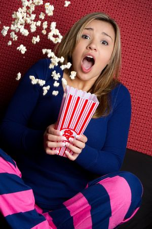 Scared Popcorn Girl Stock Photo - 6789616